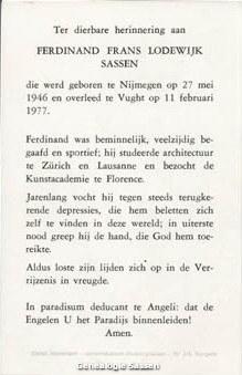 bidprentje Ferdinand Frans Lodewijk Sassen (tekst)
