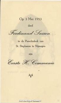 communieprentje Ferdinand Frans Lodewijk Sassen (tekst)