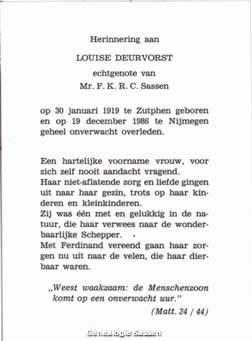 bidprentje Louise Deurvorst (tekst)