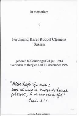 bidprentje Mr. Ferdinand Karel Rudolf Clemens Sassen (tekst)