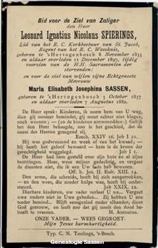 bidprentje Leonardus Ignatius Nicolaus Spierings (tekst)