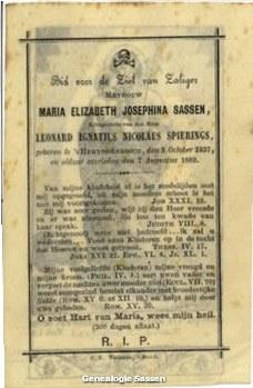 bidprentje Maria Elisabeth Josephine Sassen (tekst)