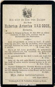bidprentje Hubertus Antonius van Goch (tekst)