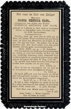 bidprentje Marie Henriette Sassen (tekst)