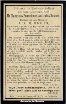 bidprentje Mr. Henricus Franciscus Antonius Sassen (tekst)