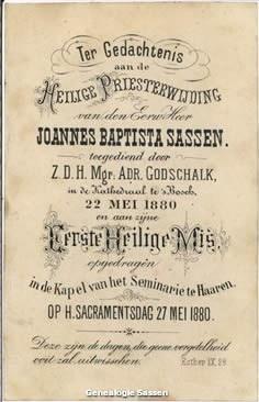 H. Priesterwijding Johannes Baptista Paulinus Sassen (tekst)