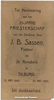 25-jarig priesterschap Johannes Baptista Paulinus Sassen (tekst)