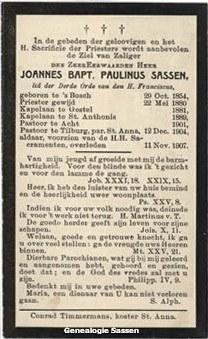 bidprentje Johannes Baptista Paulinus Sassen (tekst)