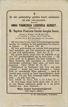 bidprentje Anna Francisca Hengst (tekst)