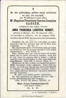 bidprentje Mr. Napoleon Franciscus Carolus Josephus Sassen (tekst)