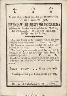 bidprentje Hendrik Willem Frederik Sassen (tekst)