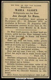 bidprentje Maria Sassen (tekst)