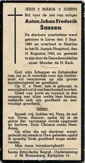 bidprentje Antoon Johan Frederik Sassen (tekst)
