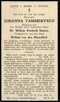 bidprentje Johanna Tammerveld (tekst)
