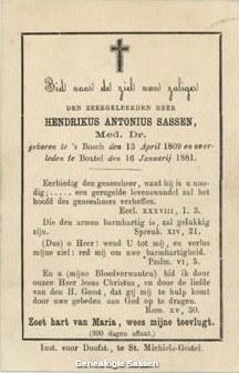 bidprentje Dr. Hendrikus Antonius Sassen (tekst)