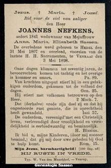 bidprentje Joannes Nefkens (tekst)
