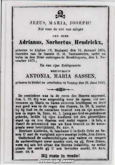 bidprentje Adrianus Norbertus Hendrickx (tekst)