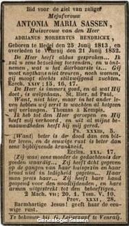 bidprentje Antonia Maria Sassen (tekst)