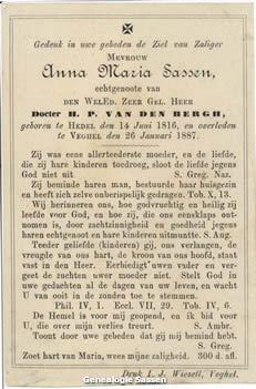 bidprentje  Anna Maria Sassen (tekst)