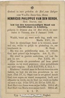 bidprentje Dr. Henricus Philippus van den Bergh (tekst)