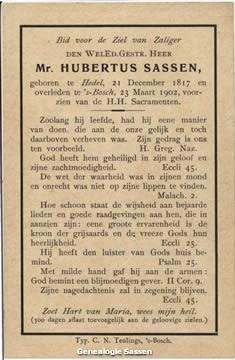 bidprentje  Mr. Hubertus Sassen (tekst)