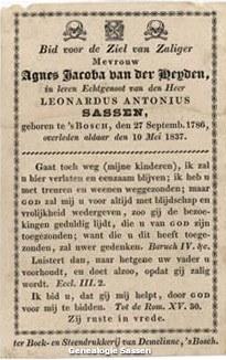 bidprentje Agnes Jacoba van der Heyden (tekst)