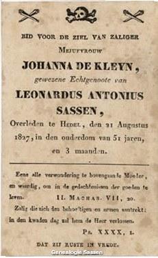 bidprentje Johanna de Kleyn (tekst)