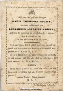 bidprentje Maria Theresia Hoctin (tekst)