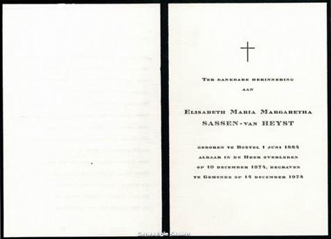 bidprentje Elisabeth Maria Margaretha van Heijst