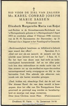 bidprentje Mr. Carolus Conradus Josephus Maria Sassen (tekst)