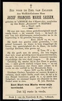 bidprentje Josephus Franciscus Maria Sassen (tekst)