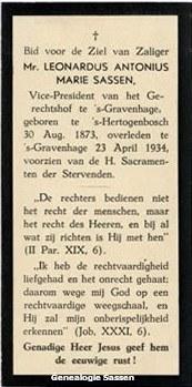 bidprentje Mr. Leonardus Antonius Marie Sassen (tekst)