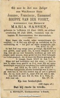 bidprentje Joannes Franciscus Emmanuel Rouppe van der Voort (tekst)