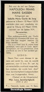 bidprentje Napoleon Franciscus Carolus Josephus Sassen (tekst)