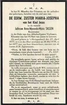 bidprentje Anna Wynanda Maria Josephina Sassen (tekst)