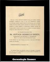 overlijdensannonce Mr. Antonius Henricus Sassen