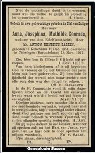 bidprentje Anna Josephina Mathilda Conrads (tekst)