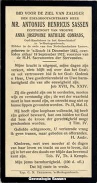 bidprentje Mr. Antonius Henricus Sassen (tekst)