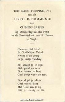 communieprentje Clemens Constant Carel Joseph Marie Sassen (tekst)