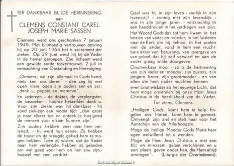 bidprentje Clemens Constant Carel Joseph Marie Sassen (tekst)