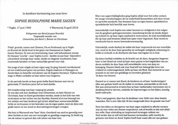 bidprentje Drs. Sophie Rudolphine Maria Sassen (tekst)