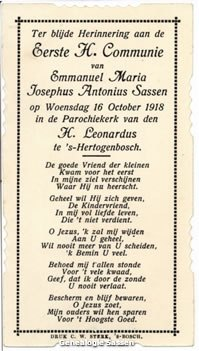 communieprentje Mr. Emmanuel Marie Joseph Anthony Sassen (tekst)