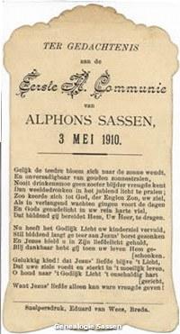 communieprentje Alphonse Marie Carel Joseph Antoon Sassen (tekst)