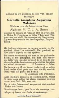 bidprentje Cornelia Josephina Augustina Mutsaers (tekst)