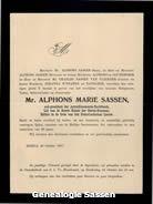 overlijdensannonce Mr. Alphonse Marie Sassen