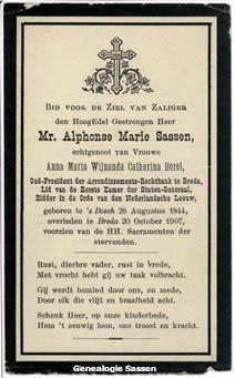 bidprentje Mr. Alphonse Marie Sassen (tekst)