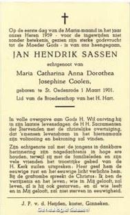 bidprentje Jan Hendrik Sassen (tekst)