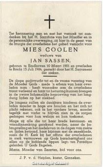 bidprentje Maria Catharina Anna Dorothea Josephina Coolen (tekst)