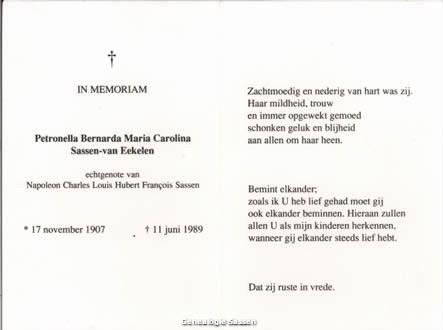 bidprentje Petronella Bernarda Maria Carolina Helena van Eekelen (tekst)