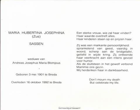 bidprentje Maria Hubertina Josephina Sassen (tekst)